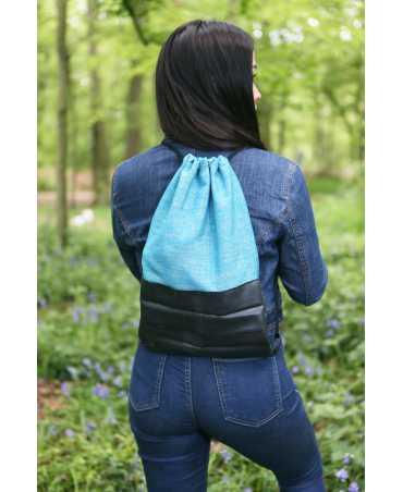 Sac à dos bi-matière tissage bleu turquoise
