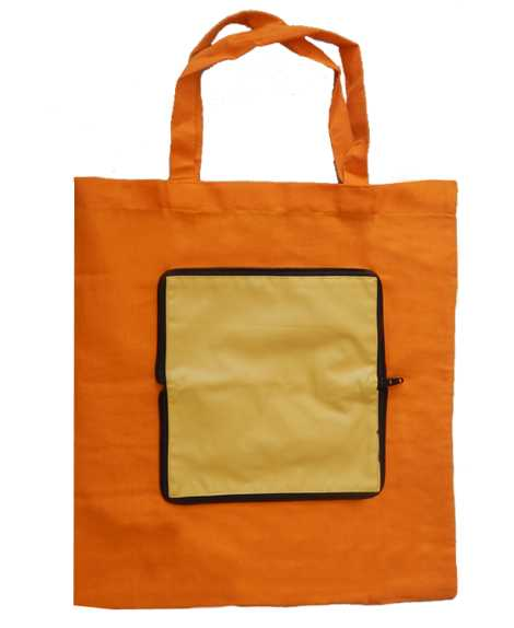 Sac de course pliable en pochette Orange et jaune